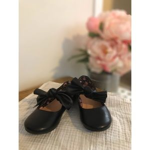 Black Bow Toddler Flats